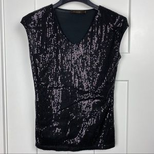 The Limited Small short sleeve black sequin top